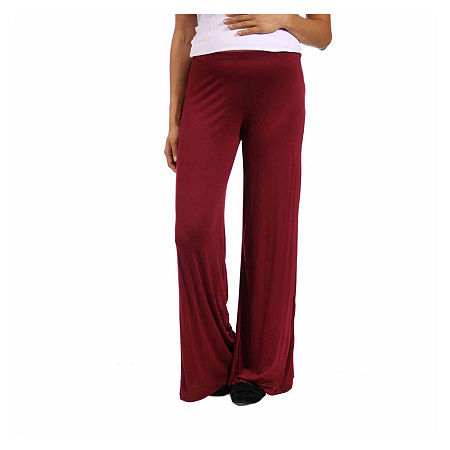 24/7 Comfort Apparel Womens Palazzo Pant-Maternity, Large , Red