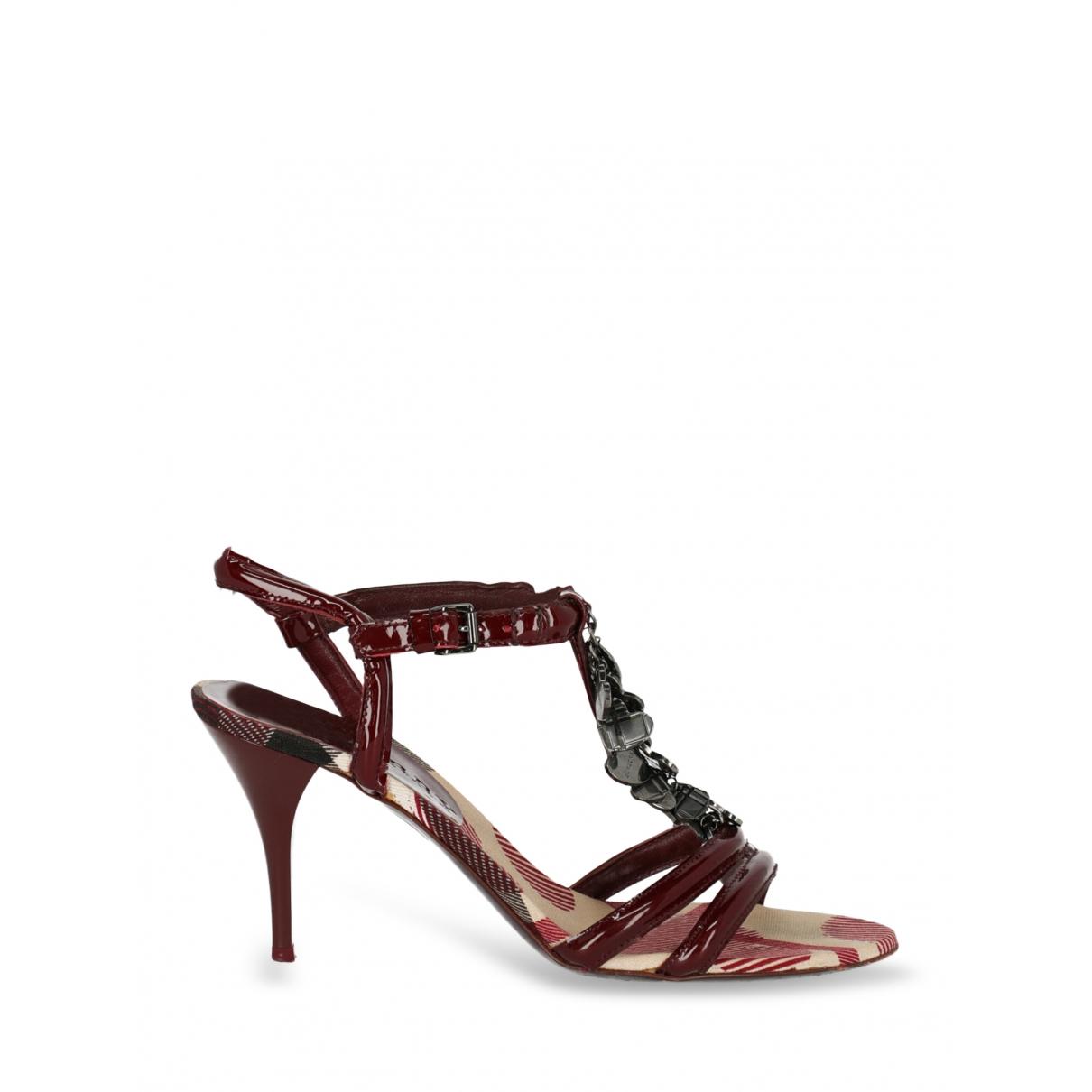 Burberry - Sandales   pour femme en cuir - bordeaux