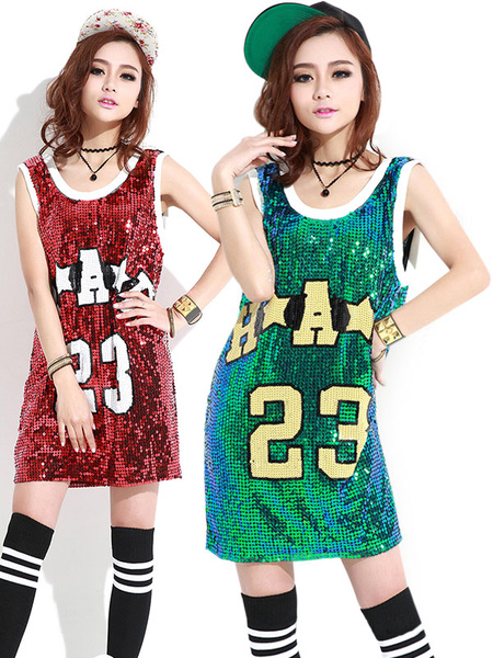 Milanoo Sequin Dance Dress Costume Round Neck Letters Print Long Pattern T Shirt