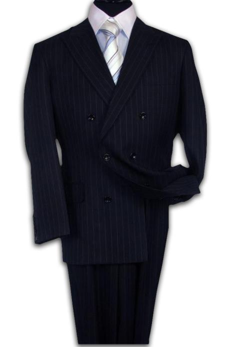 Double Breasted Navy Blue Suit Side Vent Jacket Pleated Pant Mens