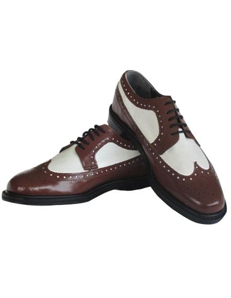 Men's Thine Leather sole 5 Eyelet Lacing Brown~White Shoes