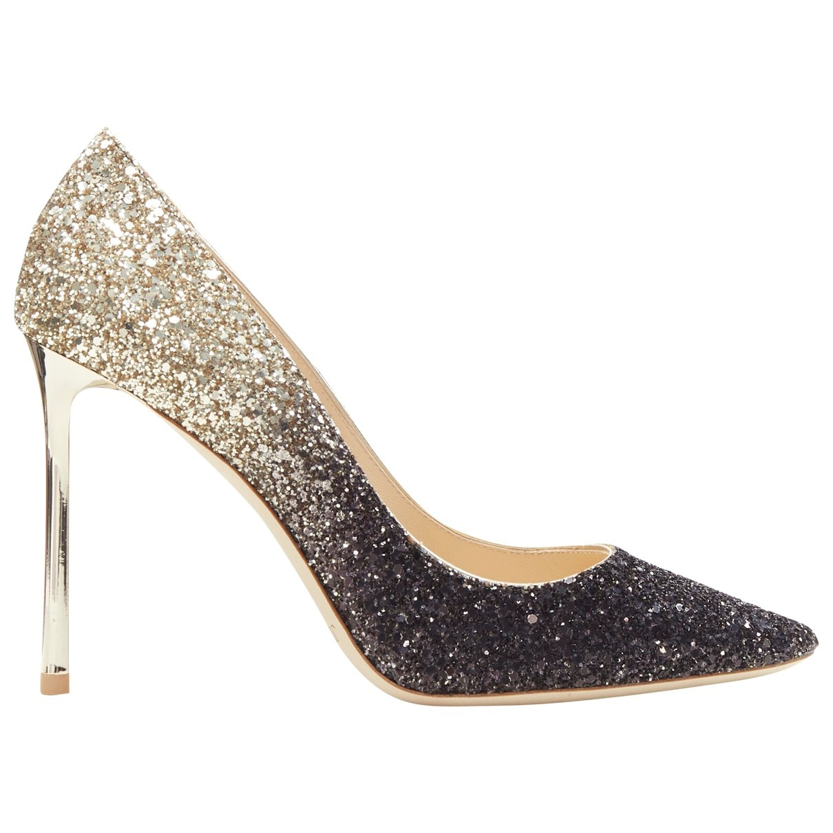 Jimmy Choo Romy Gold Glitter Heels for Women 37 EU