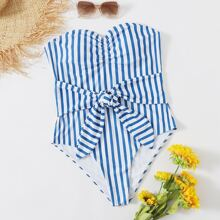 Plus Striped Ruched Knot Front One Piece Swimsuit