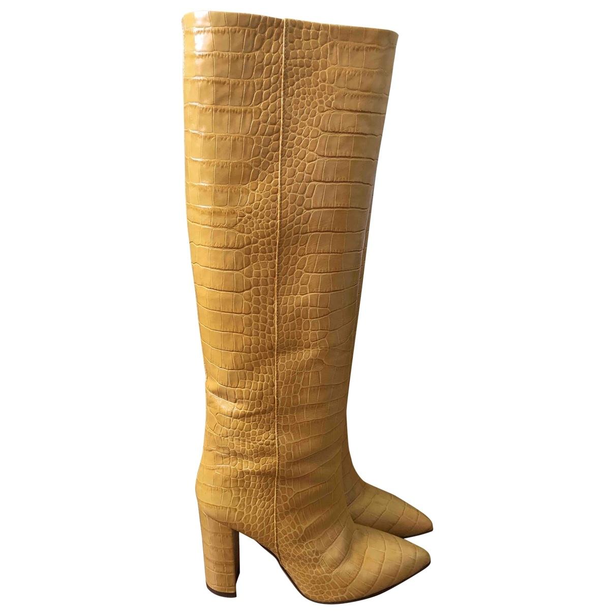 - Bottes   pour femme en cuir - jaune