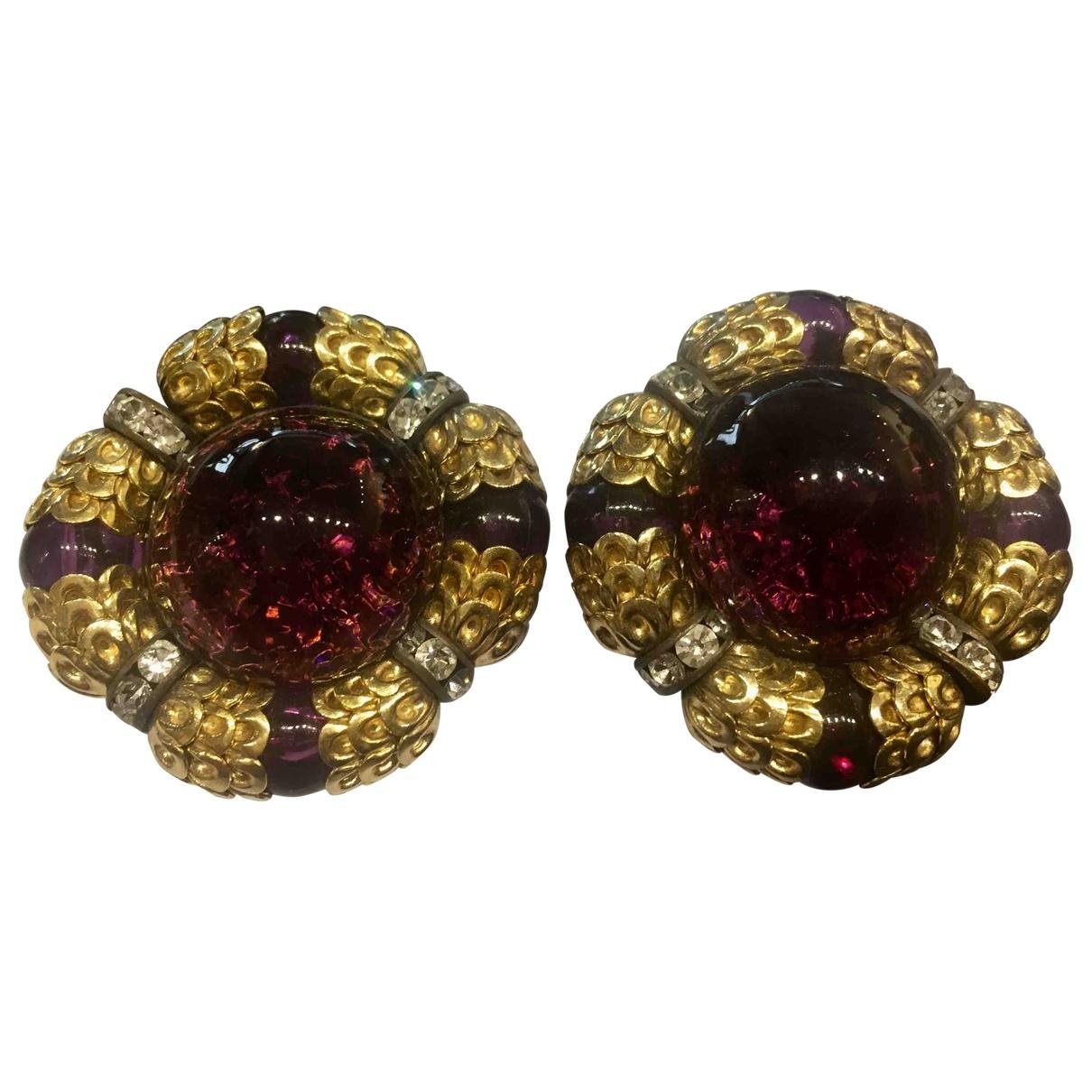 Non Signé / Unsigned Art Déco Purple Metal Earrings for Women \N
