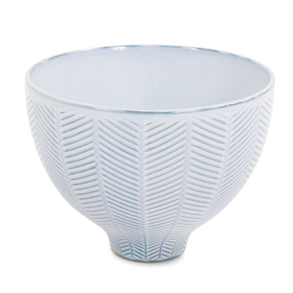 Blue and White Chevron Ceramic Bowl - 7H x 9W x 9D (7H x 9W x 9D)
