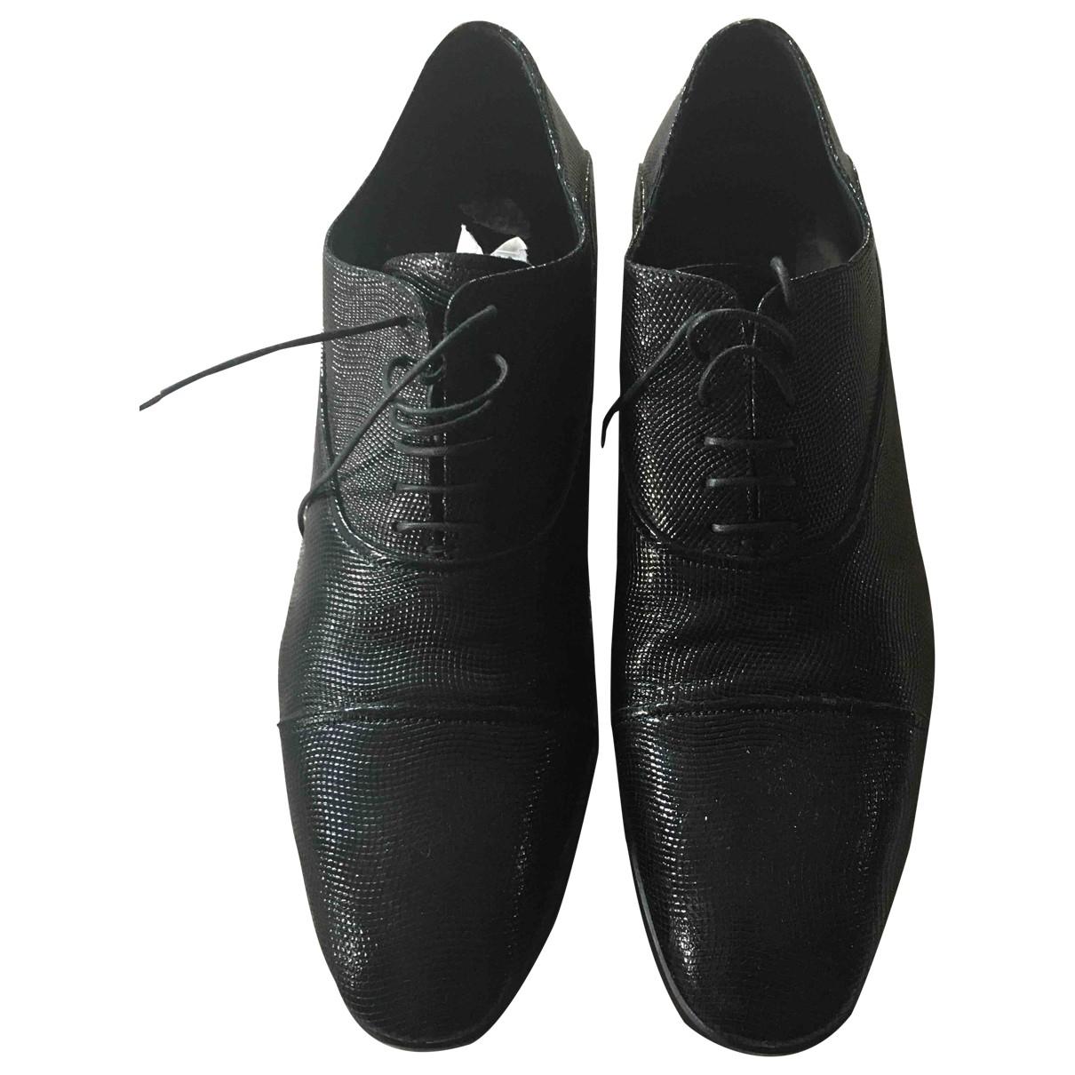 Emporio Armani - Derbies   pour homme en cuir - noir