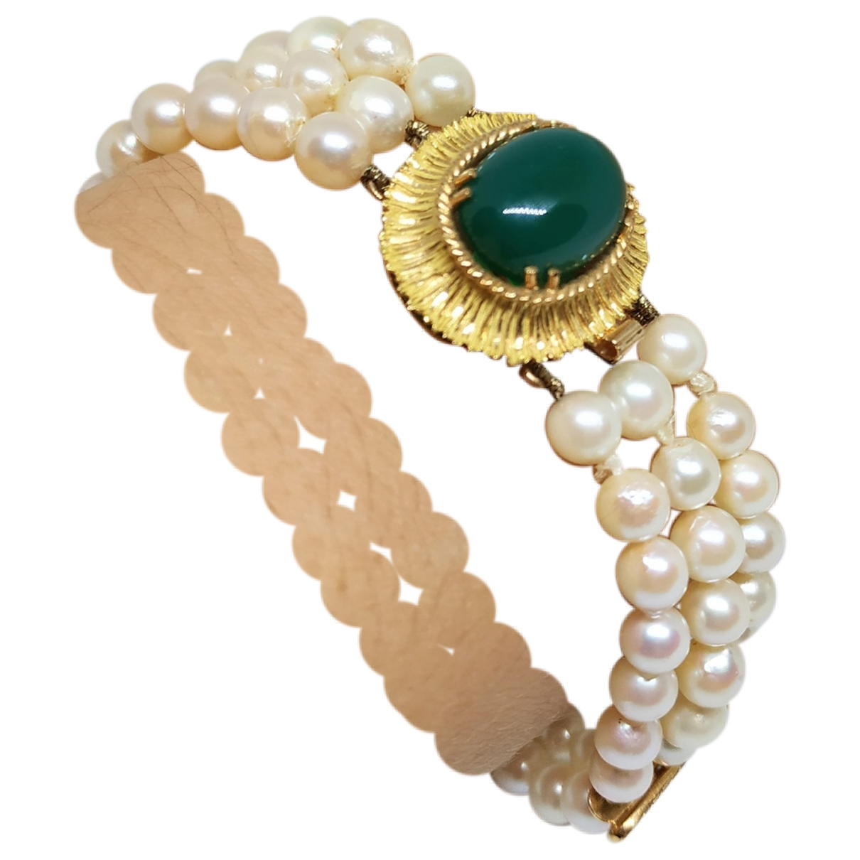 Non Signe / Unsigned Nacre Armband in  Gelb Gelbgold
