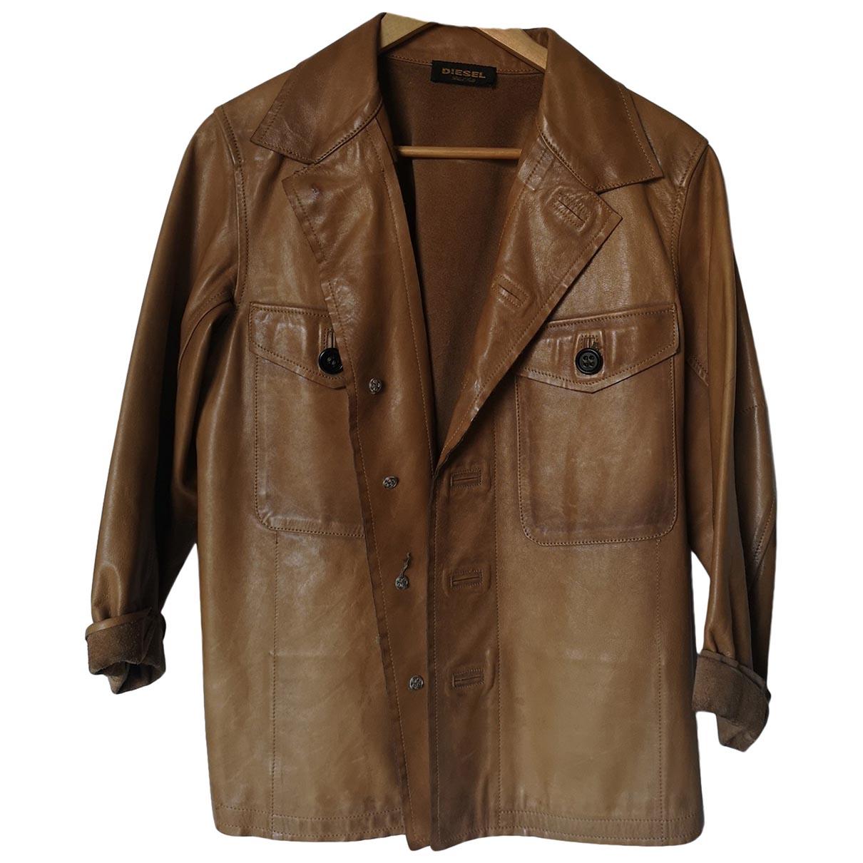 Diesel Black Gold - Blouson   pour femme en cuir - marron