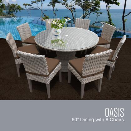 Monterey Collection MONTEREY-60-KIT-8C-COCOA Patio Dining Set with 1 Table   8 Side Chairs - Beige and Cocoa