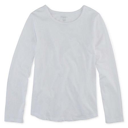 Arizona Little & Big Girls Round Neck Long Sleeve Graphic T-Shirt, 3x-large (22.5) Plus , White