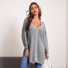 Drop Shoulder Slit Hem Sweater