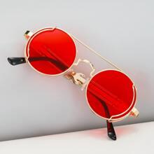 Men Round Frame Sunglasses