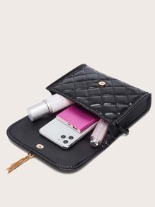 Metal Tassel Quilted Flap Crossbody Bag