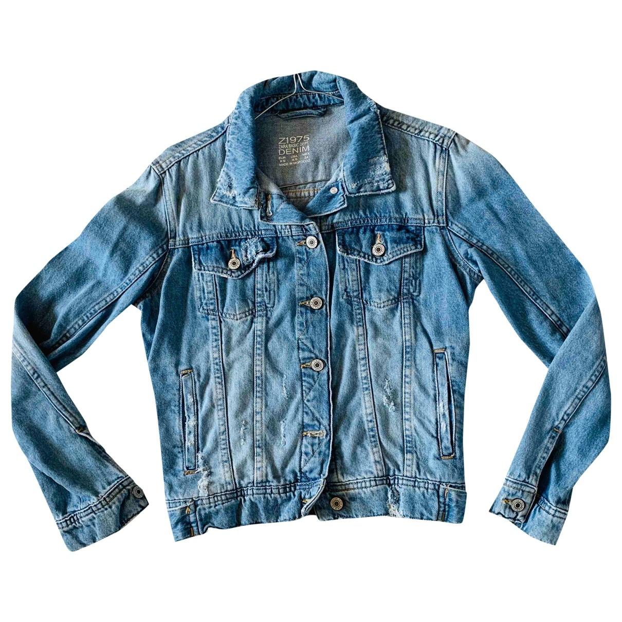 Zara - Veste   pour femme en denim - bleu