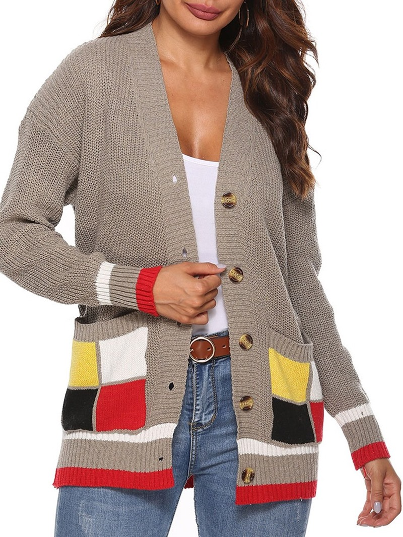Ericdress Patchwork Regular Single-Breasted Fall Loose Sweater