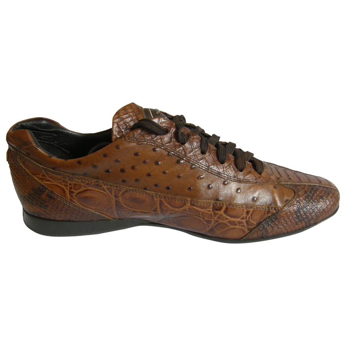 Alberto Guardiani - Baskets   pour homme en cuir - marron