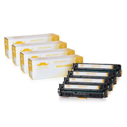 Compatible HP 304A CC532A cartouche de toner jaune - Moustache@ - 4/paquet
