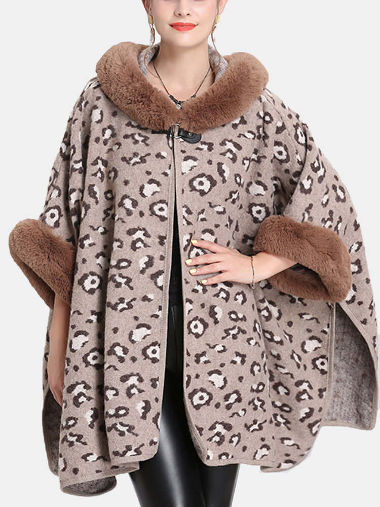Fur Collar Leopard Print Loose Cloak Women Winter Coat
