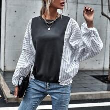 Pullover mit Farbblock, Streifen Muster und Bischofaermeln