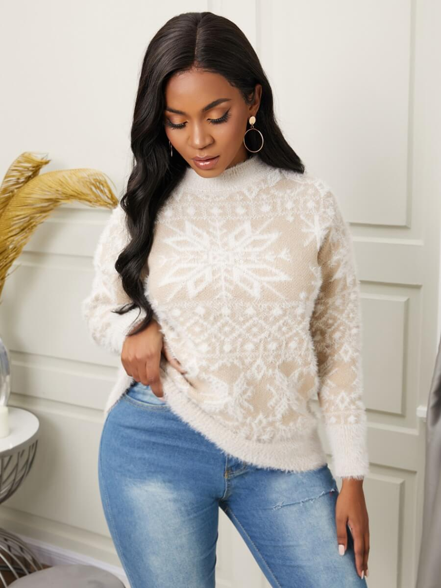 LW Lovely Trendy Half A Turtleneck Print Khaki Sweater