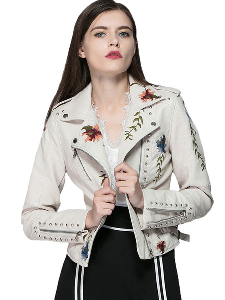 Milanoo Women Biker Jacket Studded Flower Embroidered Long Sleeve Faux Leather Jacket