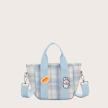 Girls Plaid Satchel Bag