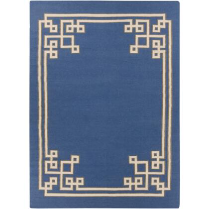 AMD1011-811 8' x 11' Rectangular Alameda Reversible 100% Wool Rug with No Pile and Hand Woven in India in Cobalt  Ivory  and