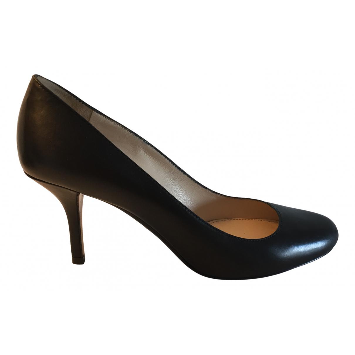 Prada N Black Leather Heels for Women 38 EU