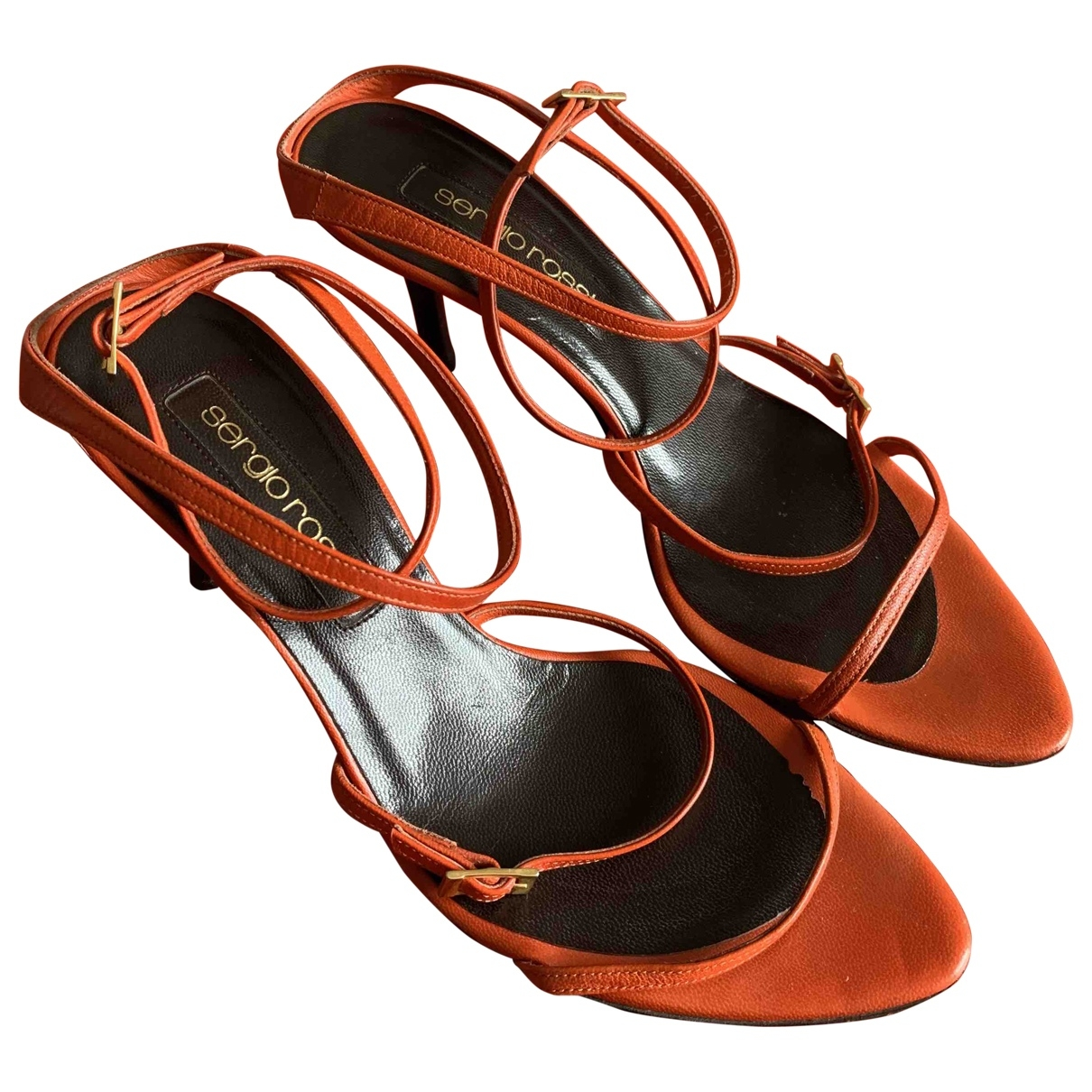 Sergio Rossi - Sandales   pour femme en cuir - orange