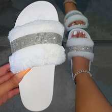 Rhinestone Detail Fluffy Slippers