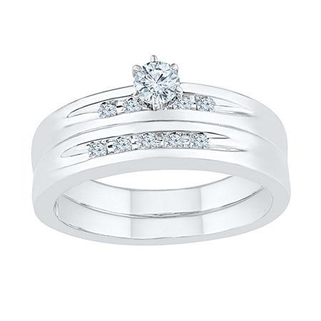 Womens 1/4 CT. T.W. Genuine White Diamond Sterling Silver Round Bridal Set, 5 , No Color Family