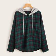 Contrast Hooded Dip Hem Plaid Blouse