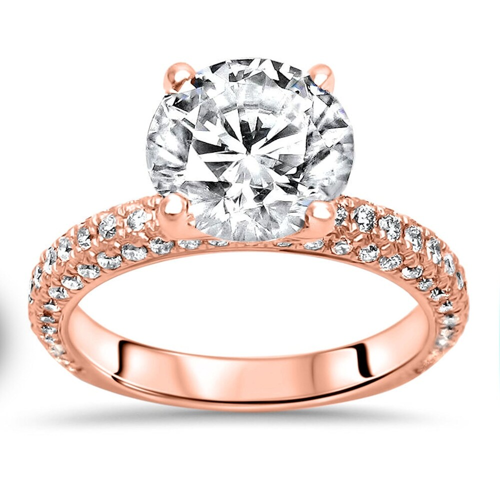 14k Rose Gold 2.0ct Round Moissanite and 3/4ct Pave Diamond Engagement Ring (7)
