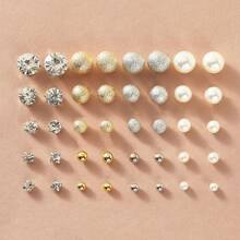 20pairs Faux Pearl & Rhinestone Decor Stud Earrings