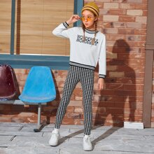 Girls Letter Graphic Striped Trim Top & Houndstooth Leggings Set