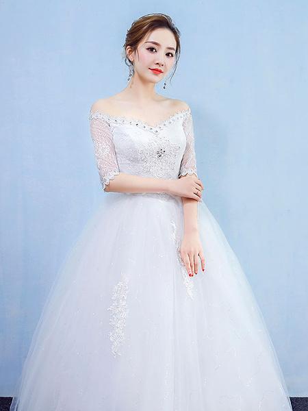 Milanoo Vestidos de novia de la princesa del vestido de bola de diamantes de imitacion de encaje blanco del vestido nupcial de media manga del hombro