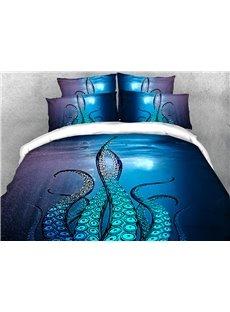 Kraken Octopus Tentacles Ocean Blue Soft Lightweight 3D Printed 4-Piece Bedding Set/ Duvet Cover Set