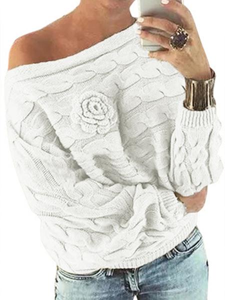 Yoins White Off Shoulder Dolman Sleeve Floral Sweater