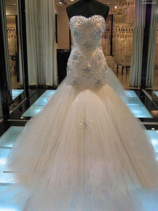 Elegante Brautkleider Mit Spitze Gunstige | Brautkleid Mit Brautkleid Weiss Lang