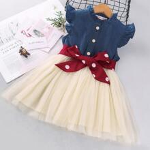 Kleid mit Netzeinsatz, Punkten Muster und Guertel