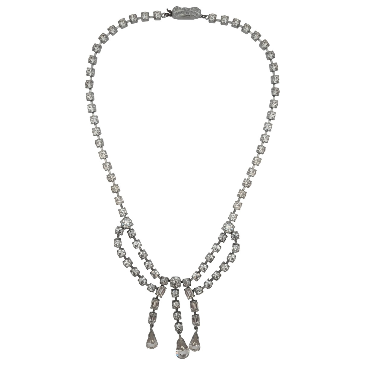 Non Signe / Unsigned Art Deco Kette in  Weiss Kristall