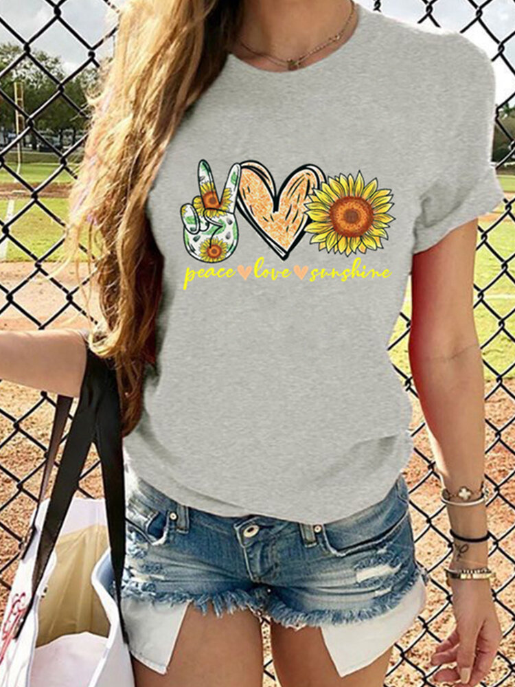 Letter Flower Heart Print Short Sleeve T-shirt For Women