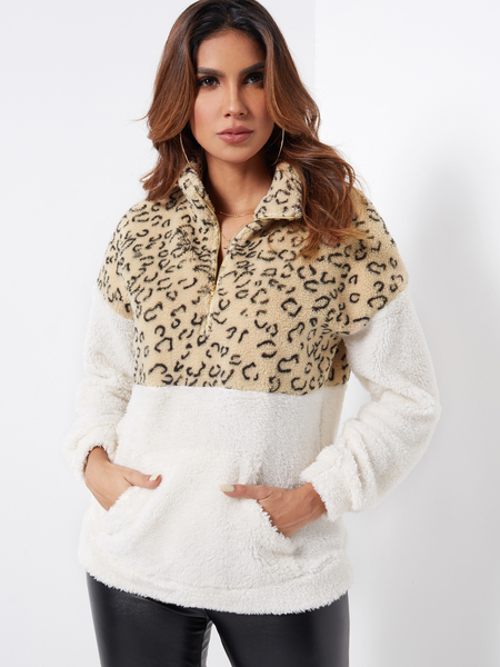 Yoins Color Block Zipper Front Leopard Chimney Collar Long Sleeves Fluffy Sweatshirts