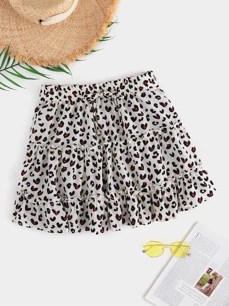 Yoins Leopard Ruffle Trim Self-Tie Design Skirt