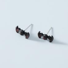 Men Halloween Bat Design Stud Earrings
