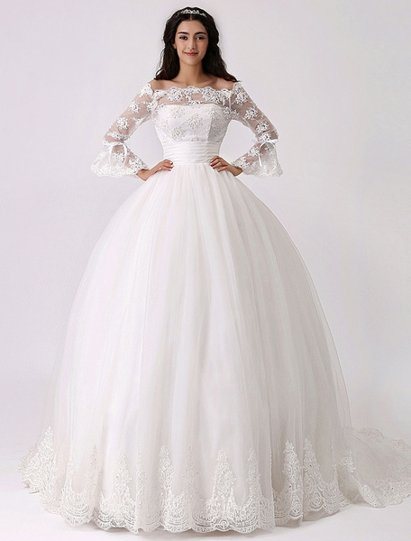 Milanoo Vintage Inspired Off the Shoulder Princess Wedding Dress with Sheer Lace Sleeves