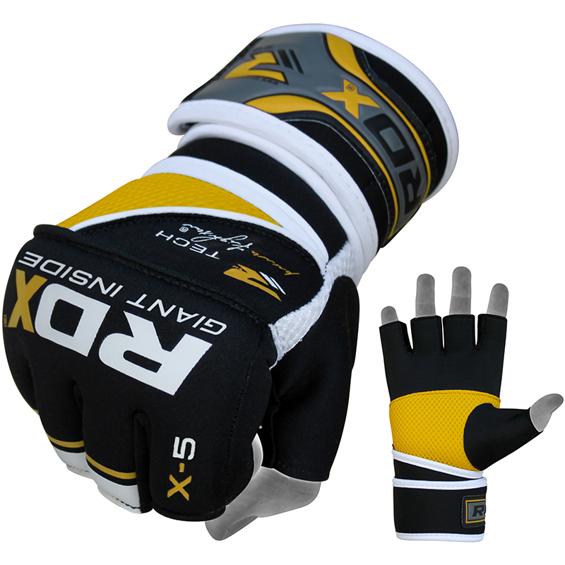 RDX X5 Grappling MMA Gloves Closed Palm Extra Large Yellow/White/Black