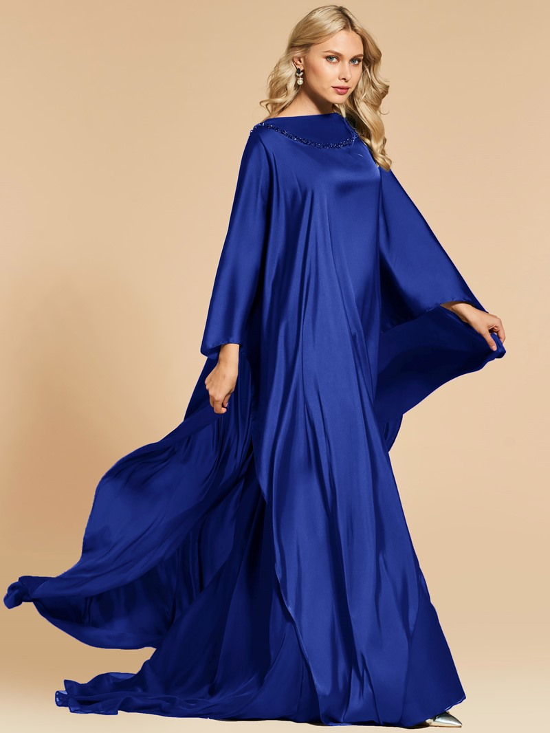 Ericdress A Line Beaded Bateau Neck Long Sleeve Evening Dress