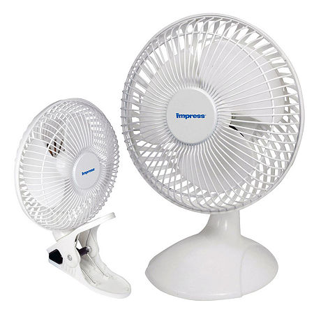 Impress 6 Inch Dual Purpose 2-in-1 Clip/Desk Fan- White, One Size , White